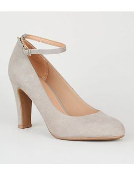 Grey Suedette Round Toe Court Shoes by New Look