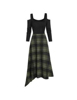 Plaid Open Shoulder Asymmetric Dress by Dress Lily