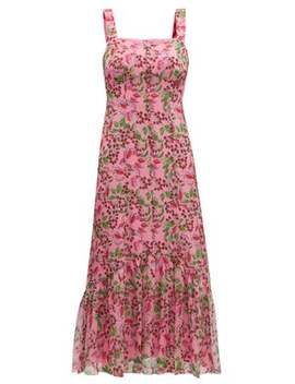 Joel Floral And Berry Print Silk Midi Dress by Saloni