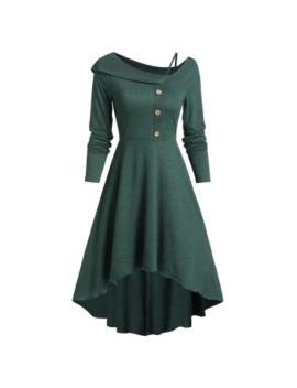 Plain Button High Low Dress by Dress Lily