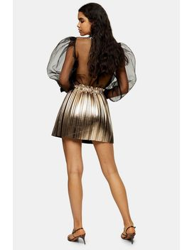 Gold Metallic Pleated Pu Mini Skirt by Topshop