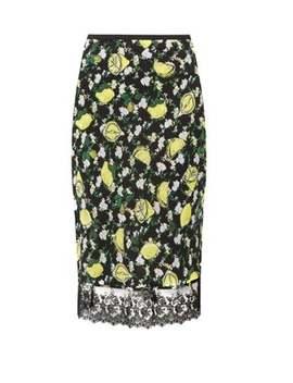 Chrissy Lemon Print Silk Knee Length Skirt by Diane Von Furstenberg