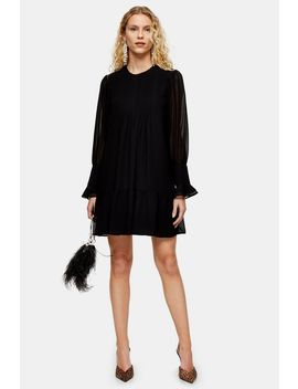 Black Pintuck Mini Dress by Topshop