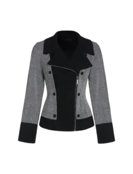 Dual Breasted Two Tone Zip Up Jacket by Dress Lily