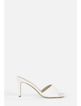 White Square Toe Mid Heel Mules by Missguided