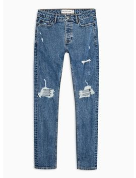 Mid Wash Blowout Stretch Skinny Jeans by Topman