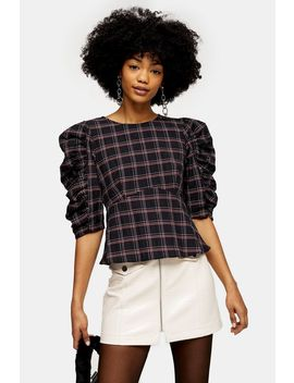 Black Check Tie Back Puff Sleeve Blouse by Topshop