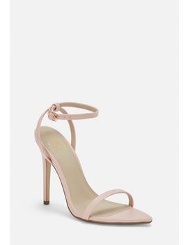 Pink Faux Leather Barely There Heels by Missguided