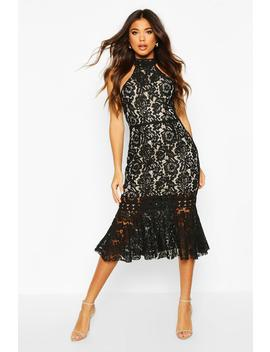 High Neck Fishtail Lace Midi Dress by Boohoo