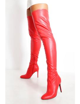 Round Toe Calf High Boots by Boohoo