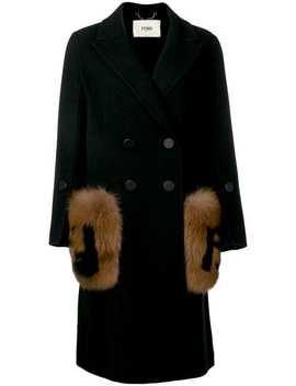 Fur Detail Overcoat by Fendi