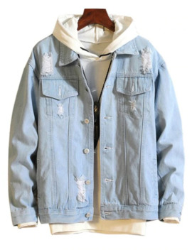 Casual Destroy Wash Ripped Denim Jacket   Light Blue M by Zaful