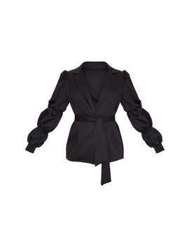 Black Woven Tie Side Bubble Sleeve Blazer by Prettylittlething