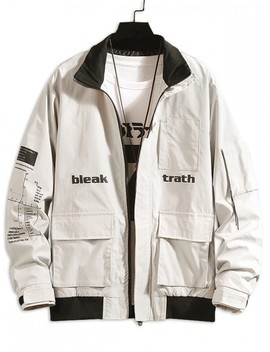 Letter Graphic Print Pockets Patchwork Casual Cargo Jacket   Beige Xs by Zaful