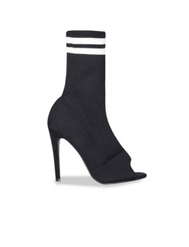Mila Black Stripe Peep Toe Sock Fit Heels by Missy Empire