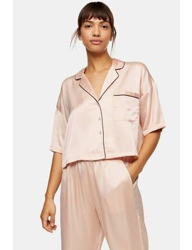 Blush Pink Hammered Pyjama Satin Shirt by Topshop