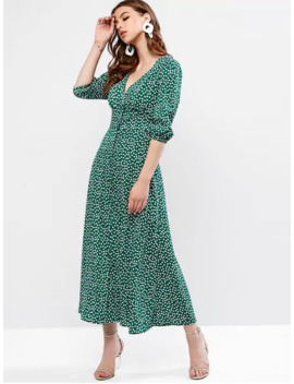 Zaful Buttoned Tiny Floral Maxi Flare Dress   Sea Green Xl by Zaful