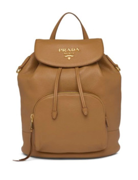 Pebbled Leather Logo Backpack by Prada