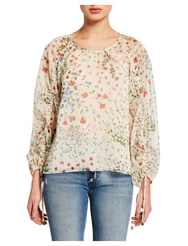 Neema Ruched Sleeve Floral Print Top by Joie