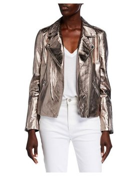 Bagatelle Metallic Leather Moto Jacket by Bagatelle