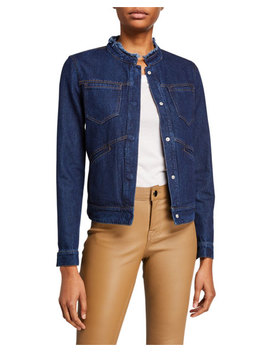 Bagatelle Denim Frayed Collar Jacket by Bagatelle