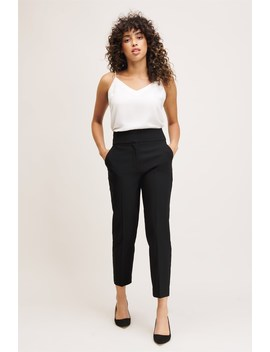 Cindy Wide Waistband Cigarette Pant by Dynamite