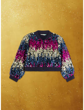 John Lewis & Partners Girls' Sequin Bomber Jacket, Multi by John Lewis & Partners