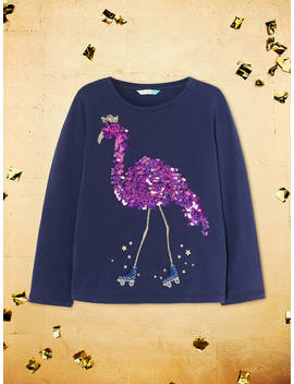 John Lewis & Partners Girls' Sequin Embellished Flamingo T Shirt, Navy by John Lewis & Partners