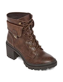 Pop Womens Yetta Lace Up Boots Block Heel by Pop