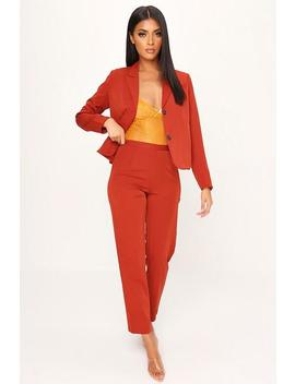 Rust High Waist Cigarette Trousers by I Saw It First