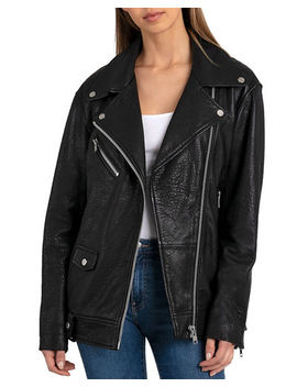 Bagatelle Leather Oversized Biker Jacket by Bagatelle