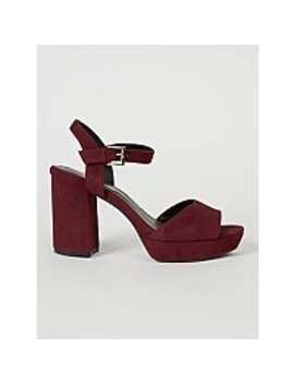 Burgundy Velvet Effect Platform Sandals by Asda