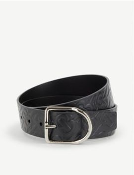 Embossed Leather Belt by Burberry