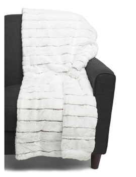 Kira Striped Jacquard Rabbit Faux Fur Throw by Tj Maxx