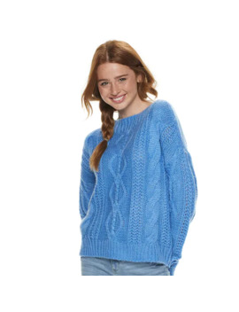Juniors' So® Boat Neck Front Cable Detailed Pullover Sweater by Juniors' So
