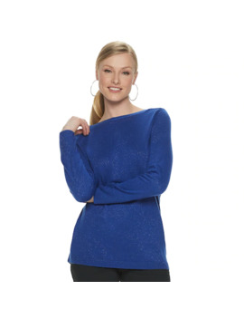 Women's Apt. 9® Lurex Shirttail Hem Pullover Sweater by Apt. 9