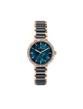 Accurist Blue Mother Of Pearl Crystal Set Dial Rose Gold And Blue Ceramic Bracelet Ladies Watch by Accurist