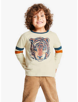 John Lewis & Partners Boys' Tiger Print T Shirt, Neutral by John Lewis & Partners