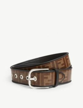 Roma Logo Glazed Fabric Belt by Fendi