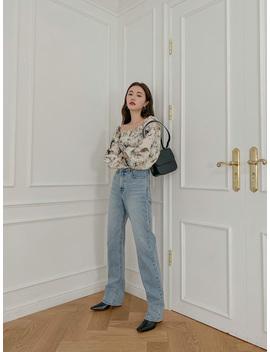 Straight Leg Cotton Denim Pants by Stylenanda