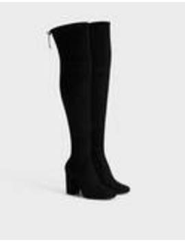 Μπότες με τακούνι Xl και ελαστικό ύφασμα by Bershka