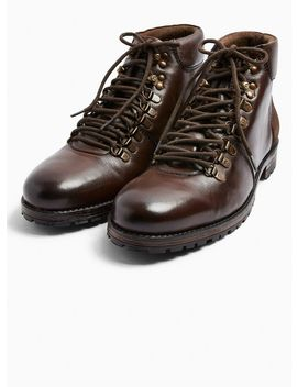 Brown Real Leather Jackson Hiker Boots by Topman
