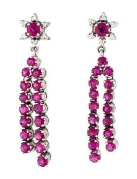 14 K Diamond & Ruby Floral Drop Earrings by Earrings