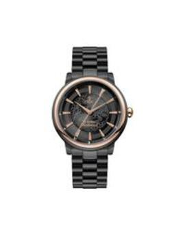 Vivienne Westwood Shoreditch Black Lace And Rose Gold Detail Dial Black Stainless Steel Bracelet Watch by Vivienne Westwood