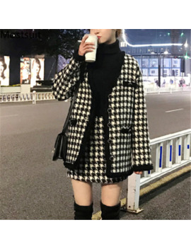 Houndstooth Vintage Two Piece Sets Outfits Women Autumn Cardigan Tops And Mini Skirt Suits Elegant Ladies Fashion 2 Piece Sets by Ali Express.Com