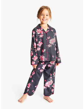 Cyberjammies Girls' Floral Print Woven Pyjamas, Black by Cyberjammies