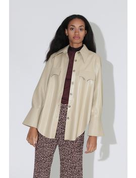 Nanushka Elpi Vegan Leather Quilt Detail Shirt   Wax Yellow by Garmentory