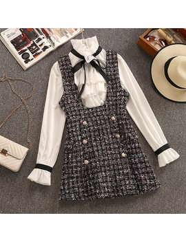 2019 Autumn Winter 2 Piece Set Overalls Dress Women Elegant Ruffles Chiffon Bow Shirt Top+Double Breasted Plaid Tweed Vest Dress by Ali Express.Com