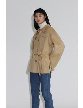 Nanushka Adut Tube Belt Jacket   Cashew by Garmentory