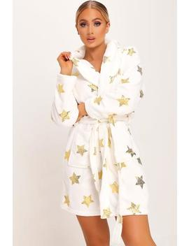 White Metallic Star Print Dressing Gown by I Saw It First